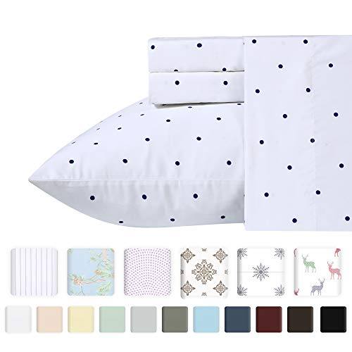 Premium 400-Thread-Count 100% Natural Cotton Sheets - 3-Piece Navy Blue Polka Dot Twin XL Sheet Set Long-Staple Combed Cotton Printed Bed Sheets for Bed Breathable Cotton Sateen Weave Sheet Sets