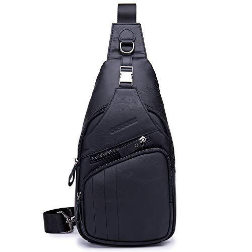 CMXSEVENDAY NOB105 Small Mens Sling Backpack Leather Sling Bag, 13x7.1 Inch, fit for 7.9 iPad Mini - Black