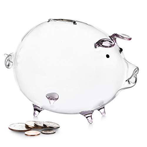 Erreloda Piggy Bank Transparent Creative Glass Coin Bank Small Glass Piggy Bank Money for Children Boys and Girls Birthday Gifts Home Decorative Gift Box Pink