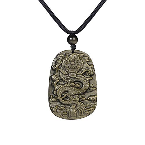 "Haskare Natural Energy Stone Pendant Engraved Black Obsidian Healing Necklace Adjustable 27.5"" (Golden Obsidian)"
