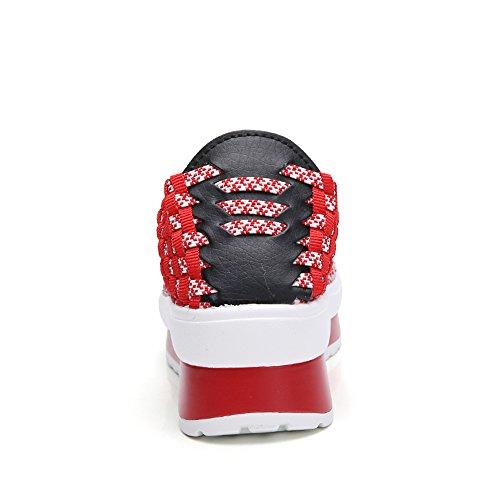 Woven On Shoes Shoes Walking Fashion 755 FZDX Lightweight Sneakers Comfort Slip RED Handmade Women IBqxwzwE5