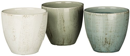 Cheap  Set of 3 Crackled Distressed Bowls - Green, Beige, Blue