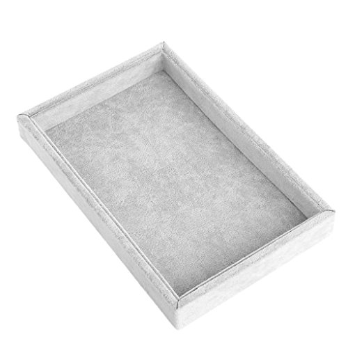 Susada Jewelry Trays Stackable Inserts Velvet Catch All Jewelry Display Tray Case (Gray)