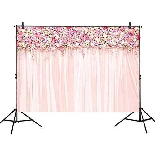 Allenjoy 7x5ft Photography backdrops Wedding Decoration Party Pink Floral Flower Wall Curtains Birthday Bridal Shower Banner Photo Studio Booth Background photocall -