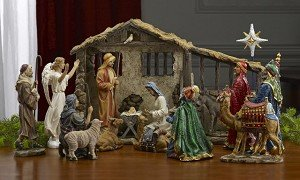 Queens of Christmas TK-NAT-14-DLX-16 16 Piece Real Life Nativity Figurine, 14''