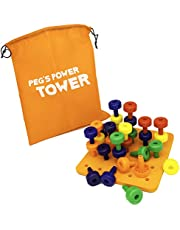 Peg Stacking Toy by Little Roos | Educational Toy for Kids to Learn fine Motor Skills, with 30 pegs in , Great Birthday Gift