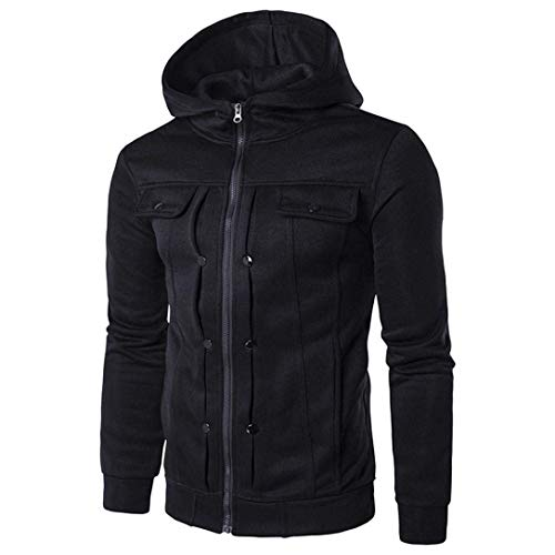 Fit Apparel Hooded Warm Outerwear Fashion Fashion Coat Men's Coat Jacket Autumn Casual Jackets Vintage Winter Slim Sleeve Schwarz Long qAYxSAwRf