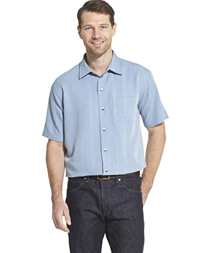 Van Heusen Men's Air Short Sleeve Button Down Poly Rayon Stripe Shirt, Forever Blue, Large