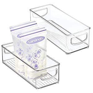 """mDesign Baby Food Kitchen Refrigerator Cabinet or Pantry Storage Organizer Bin with Handles for Breast Milk, Pouches, Jars, Bottles, Formula, Juice Boxes - BPA Free, 10"""" x 4"""" x 3"""", 2 Pack - Clear"""