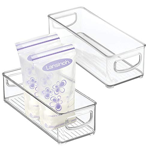 Plastic Milk Storage - mDesign Baby Food Kitchen Refrigerator Cabinet or Pantry Storage Organizer Bin with Handles for Breast Milk, Pouches, Jars, Bottles, Formula, Juice Boxes - BPA Free, 10