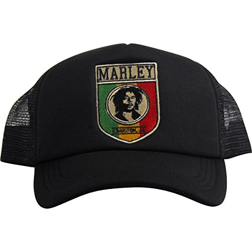 Bob Marley - Unisex-Adult Kingston Shiled Trucker Hat, Size: O/S, Color: Black (Bob Marley Colors)