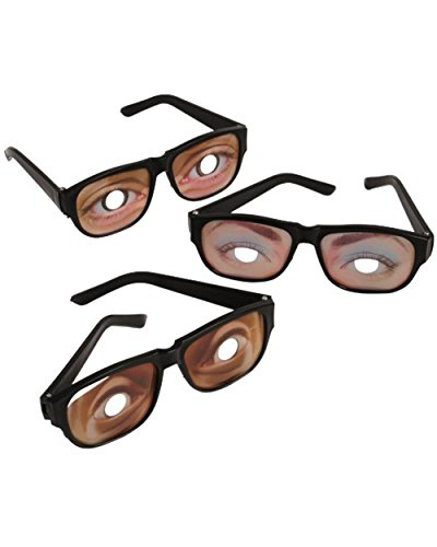 Asian Eye Glasses Costume (Funny Eyes Disguise Glasses (1 Dozen))