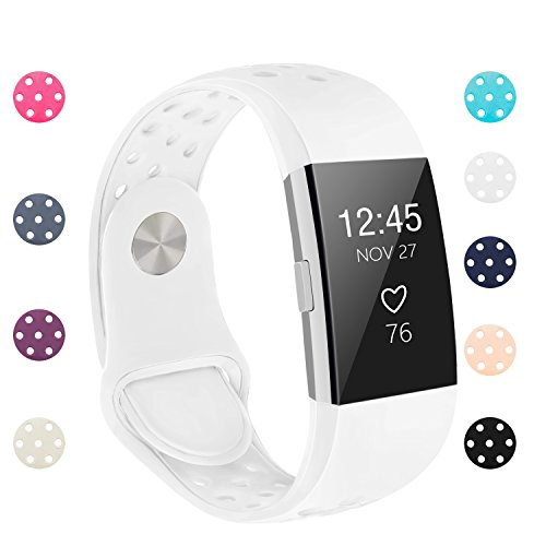 POY Replacement Bands Compatible for Fitbit Charge 2, Adjustable Breathable Wristbands with Air Holes Straps, Small White