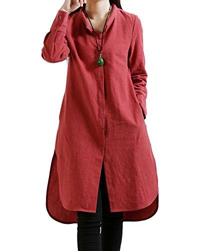 Donna Di Abito A Rosso Vintage Spessa Maxi Vestito Lungo Penggenga Maglia Lino In Cotone Allentato Cinese Stile Veste qSpUMzV