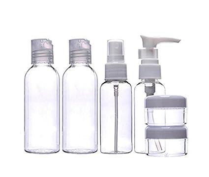 1 juego de 6 botellas de plástico transparente vacías recargables para cosméticos y viajes, para