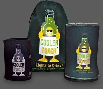 The Cooler Torch The LED Flashlight Beverage Stubby Can Bottle Holder (Green) Male Designed Flashlight, Water Bottle Accessory - Great for Your Gift Baskets.