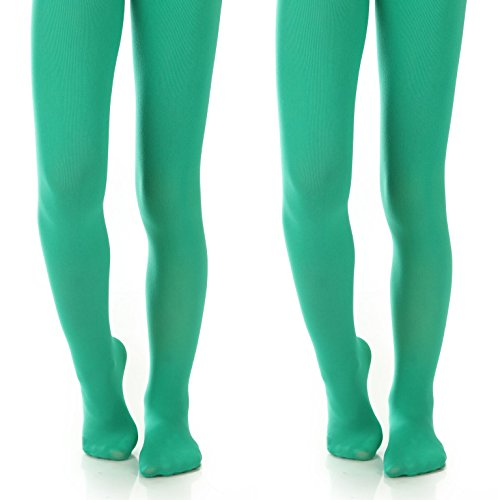 (Silky Toes Girls' Microfiber Opaque Footed Tights- 2 Per Pack (Size: 6-8, Kelly Green (2)