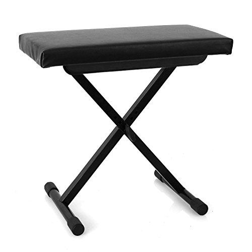 Malone Piano Bench banco para teclado (3 alturas ajustables de 40 cm, 45 cm y 50 cm, patas con cubierta de goma, tapizado de cuero sintetico, acolchado de 5 cm)