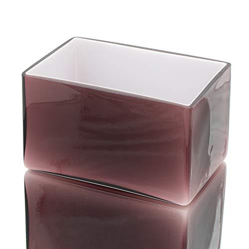 Richland Marlee Square Vase Centerpiece Colored Glass Mauve