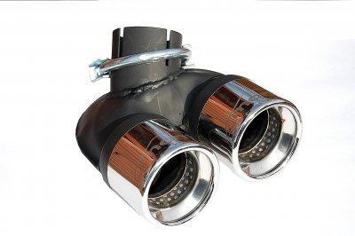 Doppelendrohr 2x60mm aus EDEHLSTAHL mit Absorber Eintragungsfrei SMART 451 10/2010-5/2012 Turbo BENZINER Montii Sport