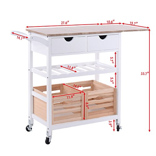 Costzon Kitchen Trolley Island Cart Dining Storage with Drawers Basket Wine Rack by Costzon (Image #2)'