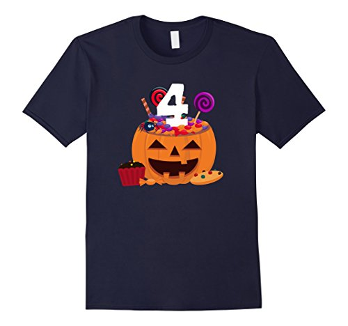 Old Navy Cupcake Costumes (Mens Pumpkin O' Lantern T-shirt 4th Birthday Kids Youth 2XL Navy)