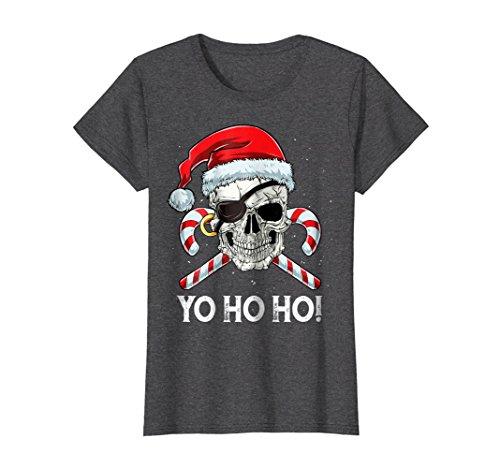 Womens Pirate Santa T Shirt Christmas Boys Men Yo ho ho Xmas Gifts XL Dark Heather