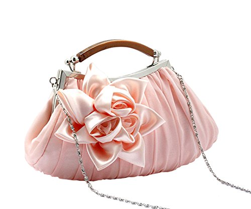 Pink Handbag Women Party Flower Retro Wedding Ornament Date Chain With Purse Clutch wFWAq