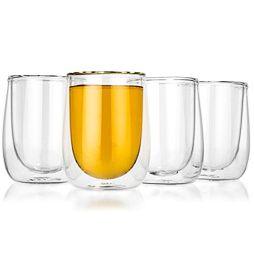 Tealyra - AURA 8-ounce - Set of 4 - Modern Double Wall Clear Glass Mug - Perfect Clear Cup - Tea - Coffee - Cappuccino - Heatproof Insulating - Keeps Beverages Hot - Gift Box - 230ml
