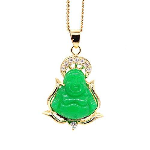 JINY Jewelry New Happy Buddha Pendant Necklace Bodhisattva Amulet Talisman Luck Green Jade Pendant