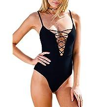 Ninimour Womens Crochet Lace Cut Halter Straps Swimsuits Bathing Suit