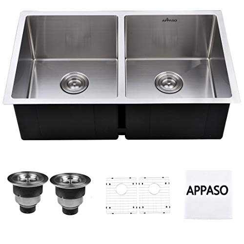 (APPASO 32-inch 50/50 Double Bowl Kitchen Sink Undermount, 18 Gauge Stainless Steel 10 inch Deep Commercial Handmade Large Drop-in Kitchen Sink,)