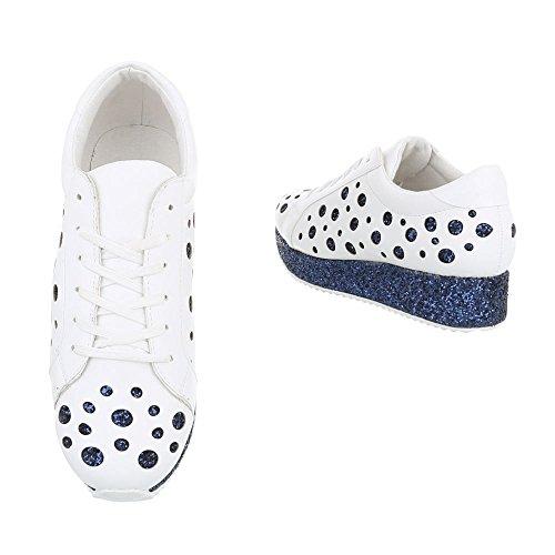 Ital-Design Sneakers Low Damenschuhe Schnürsenkel Freizeitschuhe Weiß Blau