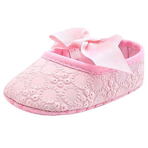 Highdas Weiche Sohle Mädchen Babyschuhe Baumwolle Erste Wanderer Schmetterling Knoten Erste Sole Kinderschuhe Rosa
