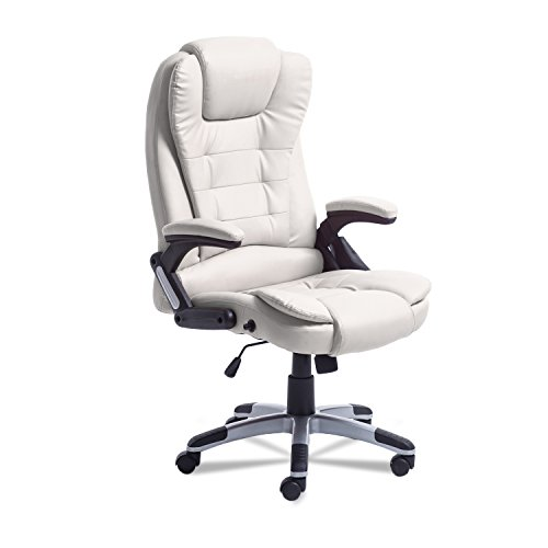 Homgrace Ergonomic Office Chair with Massage function, High Back Desk Chair with Adjustable Height, Waist / Back Massage (Beige) (Ergonomic Massage Chair)