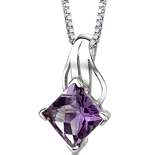 Amethyst Princess Cut Pendant Necklace Sterling Silver Rhodium Nickel Finish 2.00 Carats
