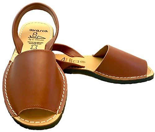 Avarcas Sandals for Women - Handmade in Spain with Natural Leather (Size 6 Brown) (Brown Leather Sandals)