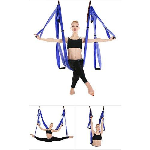 Alger Hamac de vol de yoga aérien inversé Yoga Hammock avec ensemble complet suspendu et étendu de bande, 250*150cm , Dark purple