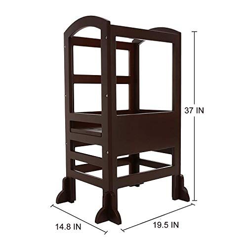 UNICOO- Height Adjustable Kids Learning Stool, Kids Kitchen Step Stool, Toddler Stool with Safety Rail-Solid Hardwood Construction. Perfect for Toddlers (Espresso - 02) by UNICOO (Image #5)