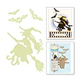 Halloween Metal Cutting Dies Scrapbooking Witch Riding Craft Die Card Making Broom Bats Die Cuts 2019 New Embossing