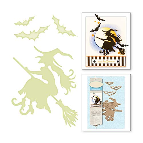 Halloween Metal Cutting Dies Scrapbooking Witch Riding Craft Die Card Making Broom Bats Die Cuts 2019 New Embossing -