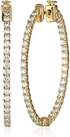 14kt Yellow Gold Diamond Inside and Outside Lucida Set Oval Hoops, 3 cttw (H-I Color, I1 Clarity)
