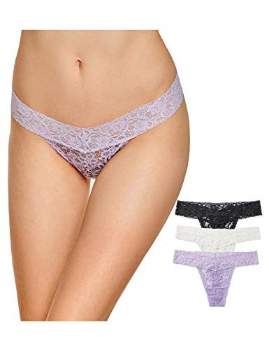 - DOBREVA Women's Sexy Lace Thongs Low Waist Underwear Panties Pack of 3 Black/Ivory/Lilac_3 Pack XL