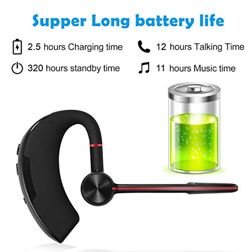 Bluetooth Headset, Wireless Business Bluetooth Headphones Hi-Fi Stereo Earpiece V4.1 Hands-Free Earphones with Noise Cancellation Microphone for Cell Phones, Skype, Office/Work Out/Trucker Driving