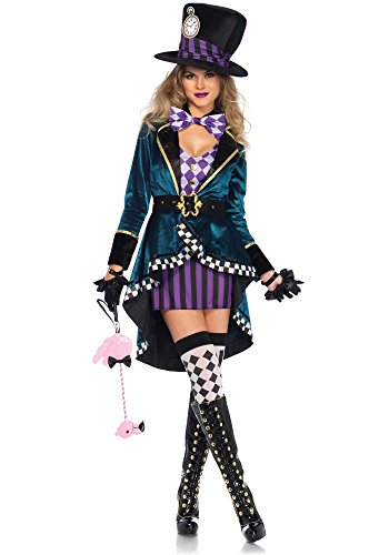 [Leg Avenue Women's Delightful Hatter Costume, Multi, Small] (Womens Tank Dress Wonder Woman Costumes)