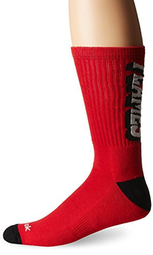 fan products of NHL Calgary Flames Men's SP17 Vertical Name Crew Socks, Red, Size 12-15