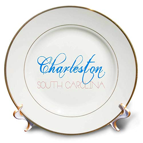 3dRose Alexis Design - American Cities - Charleston, South Carolina Blue, red Decorative Text on White - 8 inch Porcelain Plate (cp_294788_1)