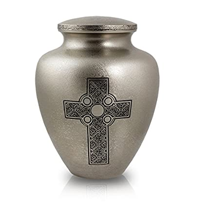 Amazon Celtic Cross Cremation Urn Large Silver Metal