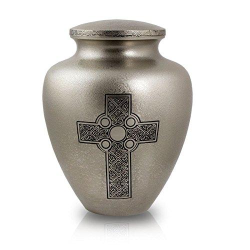 Irish Urn - Celtic Cross Cremation Urn - Large - Silver - Metal