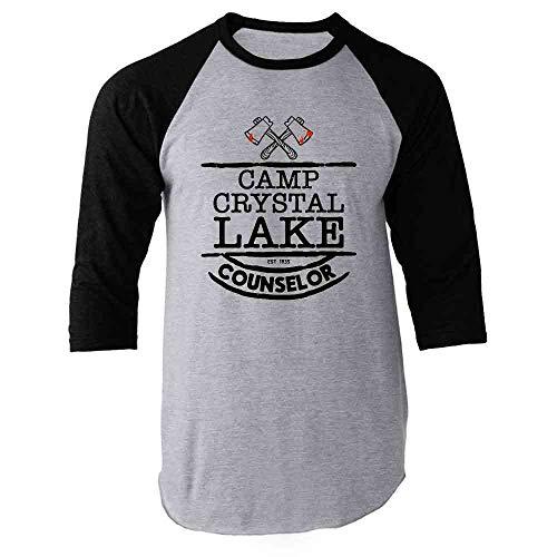 Pop Threads Camp Crystal Lake Counselor Costume Staff Black S Raglan Baseball Tee Shirt]()